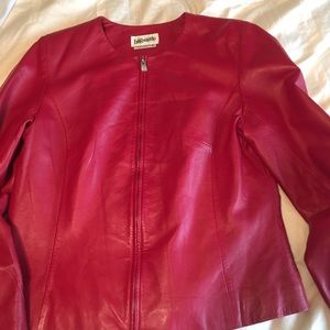 Jackets & Blazers - Fitted True Red Leather Jacket
